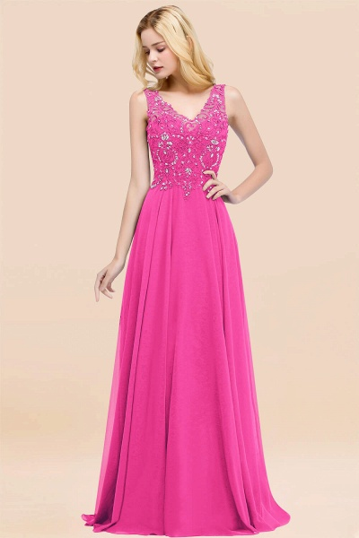 A-line Chiffon Appliques V-neck Sleeveless Floor-Length Bridesmaid Dresses with Crystals_9