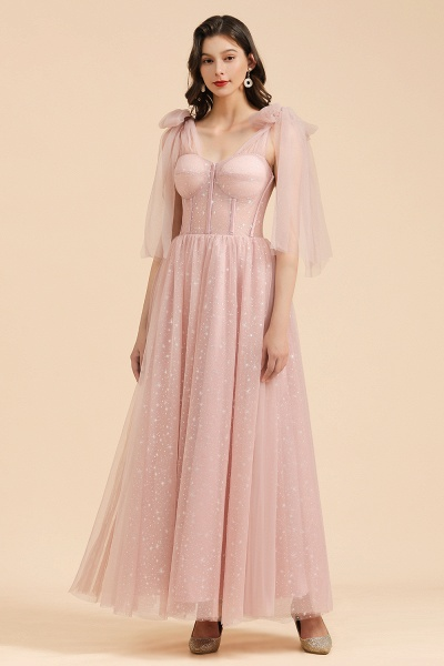 BM2007 A-line Pink Off The Shoulder Bow Tulle Floor Length Bridesmaid Dress