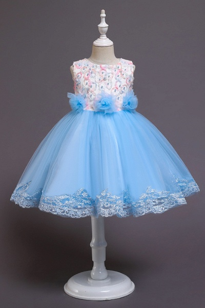 FS9979 Scoop Lace Bow Knee Length Flower Girl Dress_3
