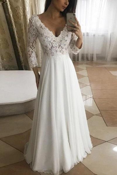 BC5755 Floeal Lace Long Sleeve V-neck A-line Wedding Dress_1