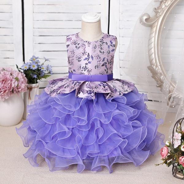 FS9963 Scoop Purple Ruffles Floor Length Flower Girl Dress_1
