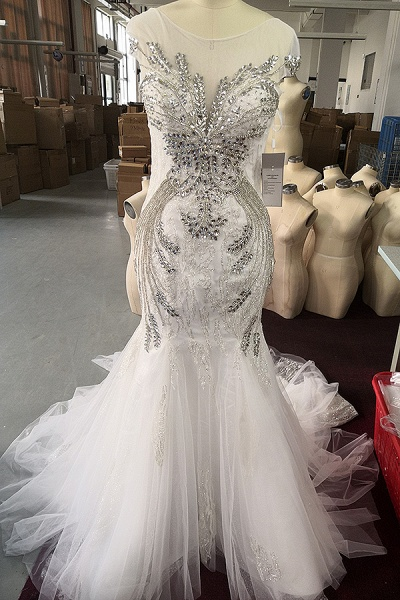 Luxury Beadings Crystal Cap Sleeve Mermaid Prom Dress_5