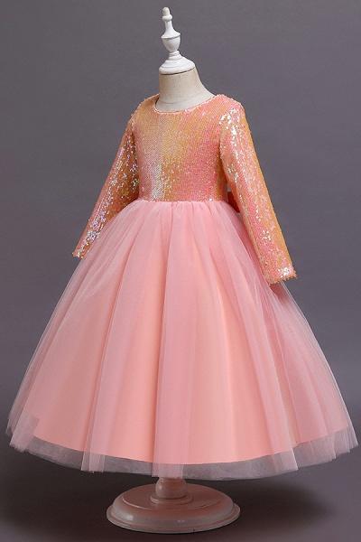 FS9969 Long Sleeve Sequins Tea Length Flower Girl Dress_7