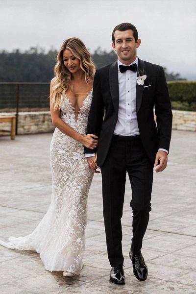 BC5801 Mermaid Spaghetti Straps Lace V-neck Jewel Wedding Dress_3
