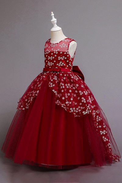 FS9981 Red Princess Belt Ball Gown Wedding Dress_8