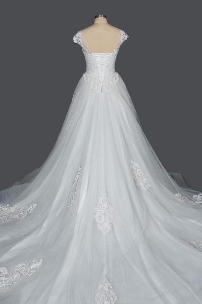 CPH245 Elegant Cap Sleeve Sheer Tulle Lace V-neck Ball Gown Wedding Dress_2