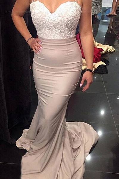 BA4780 Spaghetti Straps Mermaid Lace Satin Bridesmaid Dress_2