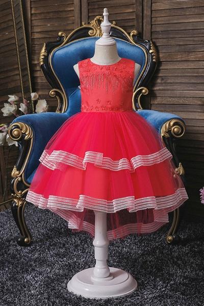 FS9972 Blue Ball Gown Tea Length Flower girl Dress_2