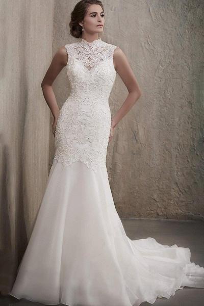 BC5741 Stunning High Neck Beads Illusion Backless Lace Mermaid Wedding Dress_1