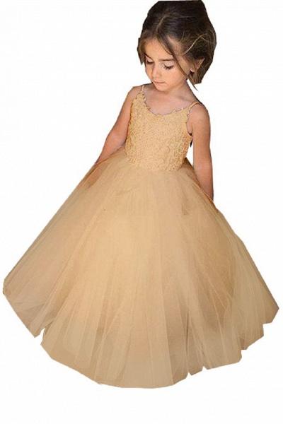 White Square Neckline Sleeveless Ball Gown Flower Girls Dress_3
