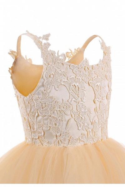 White Square Neckline Sleeveless Ball Gown Flower Girls Dress_9