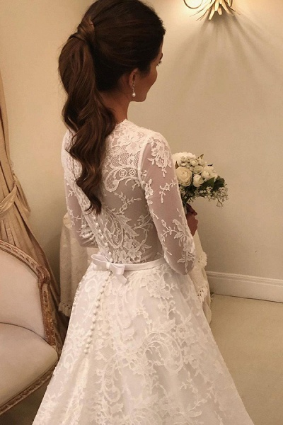 BC5805 Scoop Lace Long Sleeve A-line Wedding Dress_3