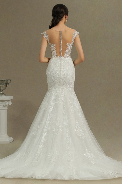CPH232 Mermaid Cap Sleeve Sheer Tulle Appliques Wedding Dress_3