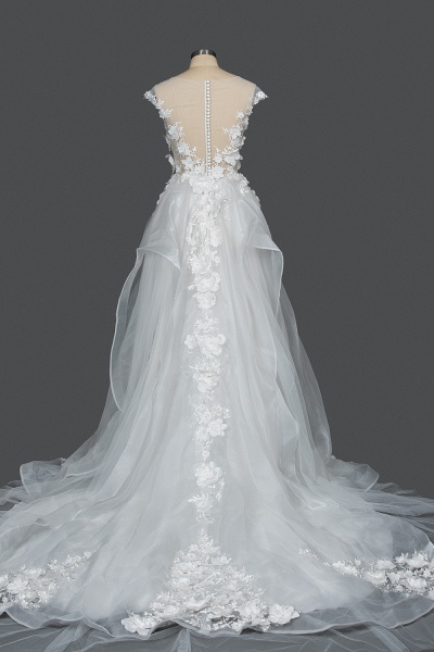 CPH251 Floral Appliques Cap Sleeve Jewel Ball Gown Wedding Dress_2