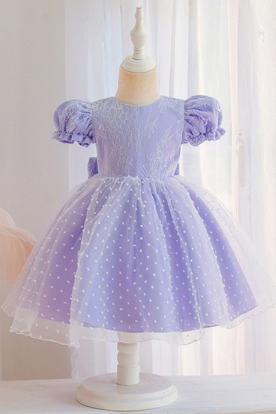 FS9967 Pink Short Sleeve Lace Flower Girl Dress_4