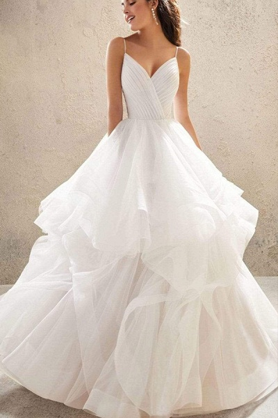 BC5737 Spaghetti Straps V-neck Backless A-line Ruffles Tulle Wedding Dress_9