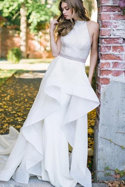 BC5739 Halter A-line Beadings Belts Wedding Dress_3
