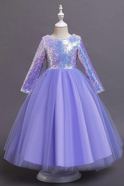 FS9969 Long Sleeve Sequins Tea Length Flower Girl Dress_3