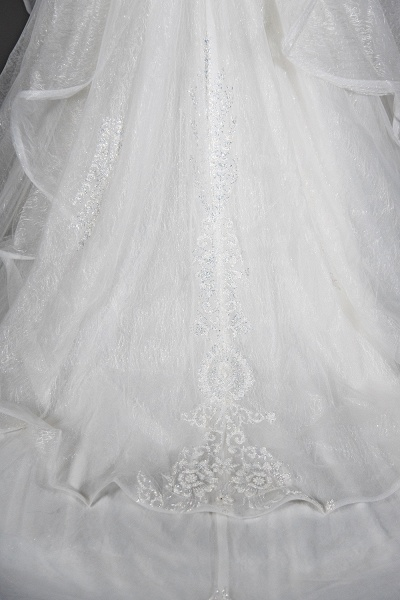 CPH250 Luxury Sequins Appliques Tulle Ruffles Ball Gown Wedding Dress_3