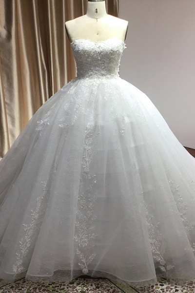 CPH229 Gergrous Off The Shoulder Appliques Sweetheart Ball Gown Wedding Dress_1