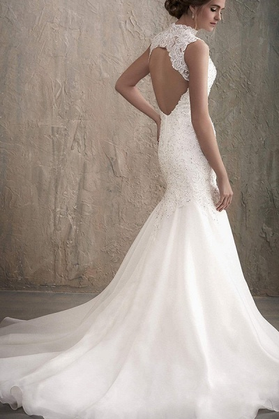 BC5741 Stunning High Neck Beads Illusion Backless Lace Mermaid Wedding Dress_2