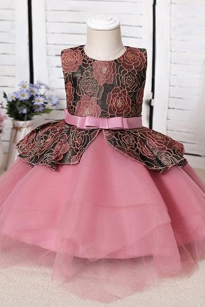 FS9964 Ball Gown Scoop Appliques Flower Girl Dress_1