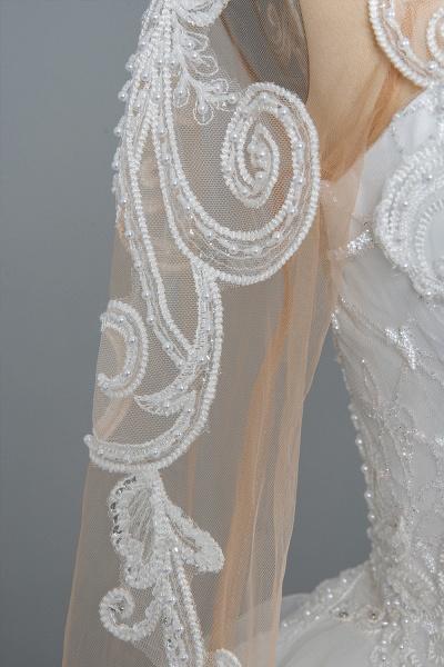 CPH246 Lace Long Sleeve Appliques Ruffles Ball Gown Wedding Dress_11