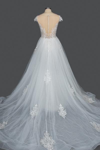 CPH248 Gergrous Lace Cap Sleeve Sheath Wedding Dress With Detachable Train_2