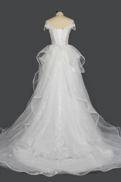 CPH250 Luxury Sequins Appliques Tulle Ruffles Ball Gown Wedding Dress_2