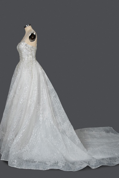 CPH249 Straps Sequins Sweetheart Pleated Ball Gown Wedding Dress_3