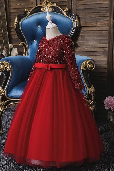 FS9973 Long Sleeve Sequins Burgundy Flower Girl Dress_1