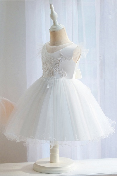 FS9982 Ball Gown Appliques White Pleated Flower Girl Dress_6