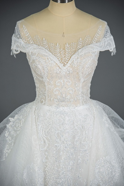 CPH250 Luxury Sequins Appliques Tulle Ruffles Ball Gown Wedding Dress_8