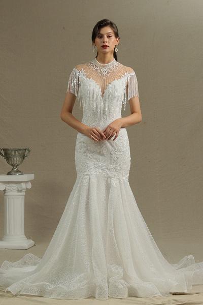 CPH231 Shimmy Mermaid High Neck Beadings Tassel Wedding Dress_3