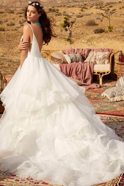 BC5737 Spaghetti Straps V-neck Backless A-line Ruffles Tulle Wedding Dress_3
