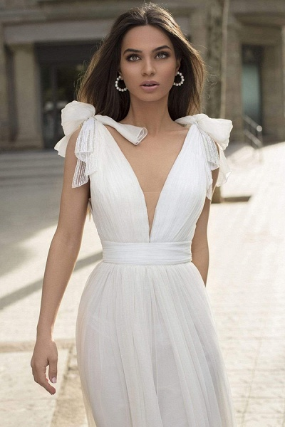 BC5744 Chiffon Bow Straps V-neck Sheath Wedding Dress_2