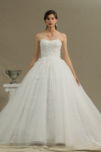 CPH229 Gergrous Off The Shoulder Appliques Sweetheart Ball Gown Wedding Dress_2