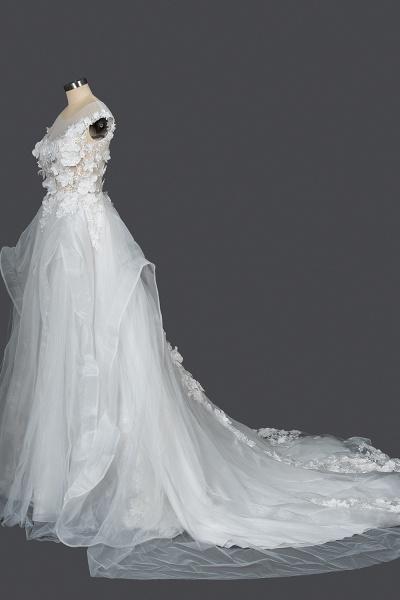 CPH251 Floral Appliques Cap Sleeve Jewel Ball Gown Wedding Dress_3