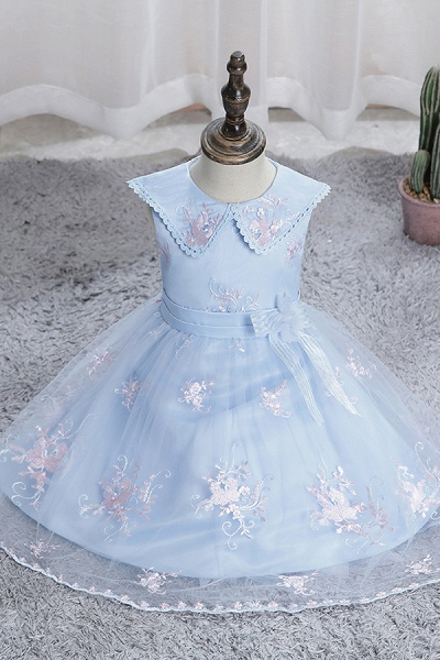 FS9976 Blue Appliques Tulle Knee Length Flower Gril Dress_2