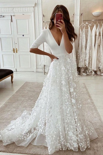 BC5799 V-neck Lace A-line Side Split 3/4 Sleeve Wedding Dress_1