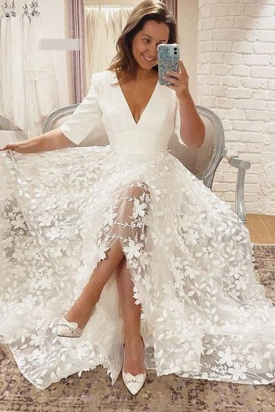 BC5799 V-neck Lace A-line Side Split 3/4 Sleeve Wedding Dress_2