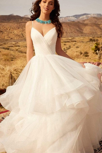BC5737 Spaghetti Straps V-neck Backless A-line Ruffles Tulle Wedding Dress_1