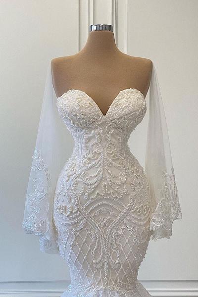 BC5666 Mermaid Sweetheart Strapless Pearls Beadings Lace Wedding Dress_2