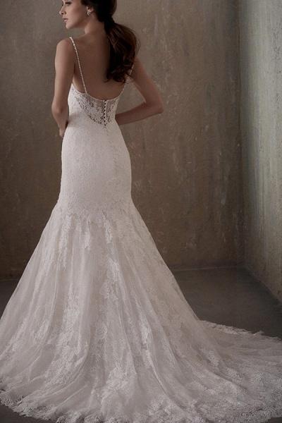 BC5740 Mermaid Illusion Lace Jewel Backless Wedding Dress_2