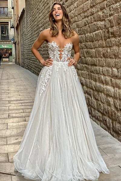 BC5802 Gorgeous Sheer Tulle Appliques A-line Floor Length Wedding Dress_5
