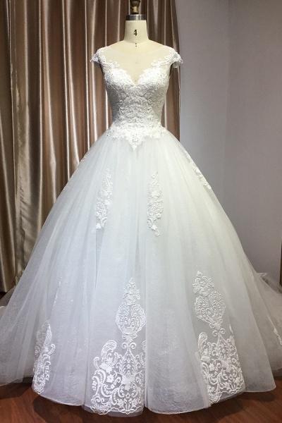 CPH245 Elegant Cap Sleeve Sheer Tulle Lace V-neck Ball Gown Wedding Dress_1