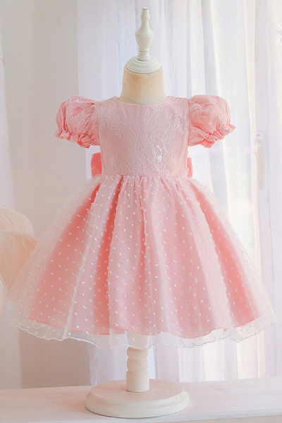 FS9967 Pink Short Sleeve Lace Flower Girl Dress_1