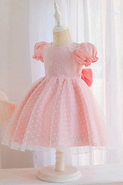 FS9967 Pink Short Sleeve Lace Flower Girl Dress_7