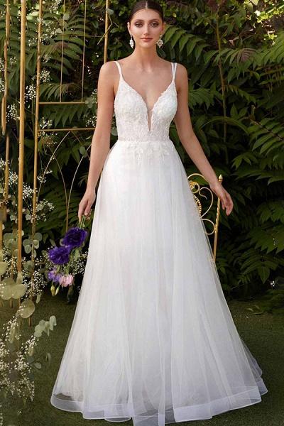 BC5742 Spaghetti Straps V-neck Appliques A-line Floor Length Boho Wedding Dress_1