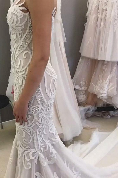 SD2137 Unique Sweetheart Mermaid White Long Wedding Dress with Lace Appliques_3